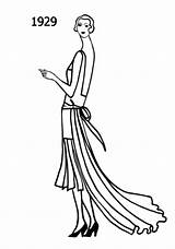 Flapper Drawing 1920s Sketches Silhouettes Drawings Line Era Flappers History Costume Silhouette 1929 1920 Outfits 1930 1928 Detailed Coloring Getdrawings sketch template