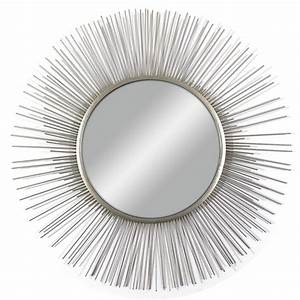shop silver polished round wall mirror at lowescom With kitchen cabinets lowes with silver circle metal wall art