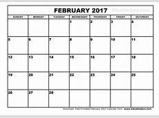 February 2017 Calendar Printable weekly calendar template
