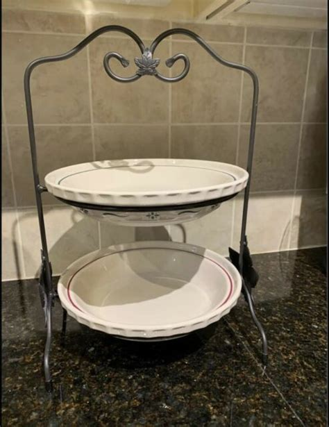 longaberger wrought iron  tier large pie platerack holder ebay
