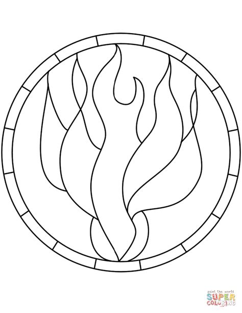 pentecost holy spirit flame dove stained glass coloring page  stained glass category select