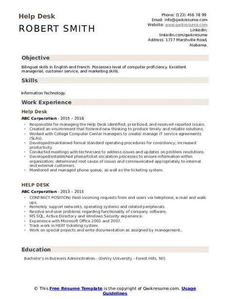 Help Doing Resume Free by Help Desk Resume Sles Qwikresume