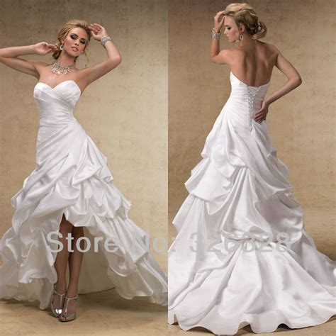 2013 High Low White Beach Sweetheart Low Front And Long