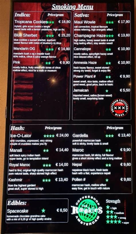 Coffeeshop amsterdam is one of amsterdam's best and most famous coffeeshops. Rookies - Amsterdam Coffeeshop Menus