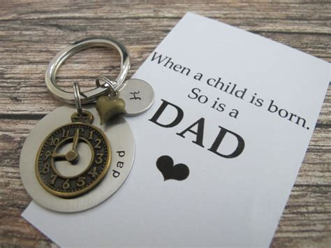 gifts for time dads first time dad quote personalized initial keychain new dad