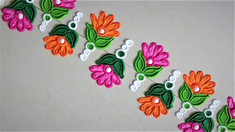 super easy  quick border rangoli designs creative