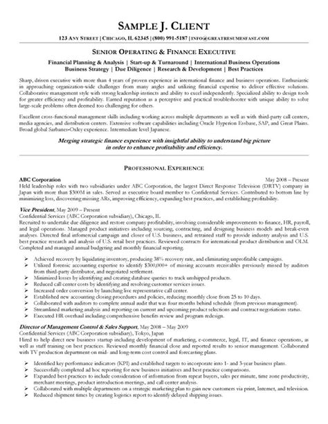 resume sles for finance executives senior operating and finance executive resume