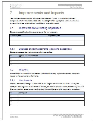 Non Functional Requirements Template by Business Requirements Specification Template 24 Page Ms