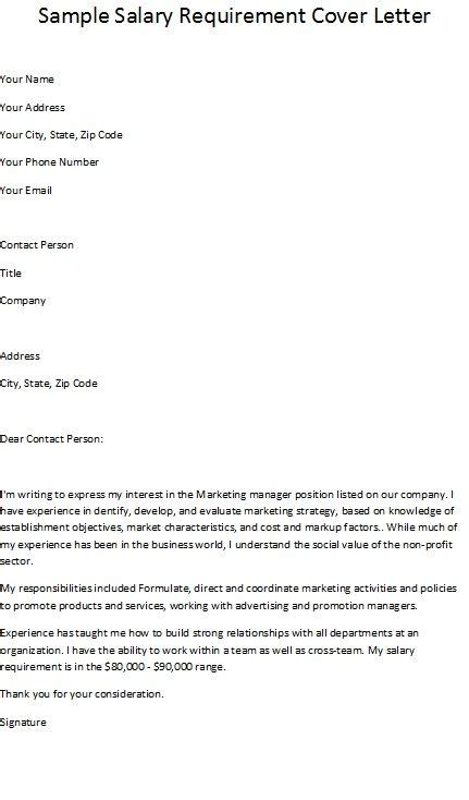 cover letter with salary requirements salary requirements cover letter letter of recommendation 28543