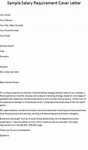 salary requirement on cover letter - salary requirements cover letter letter of recommendation