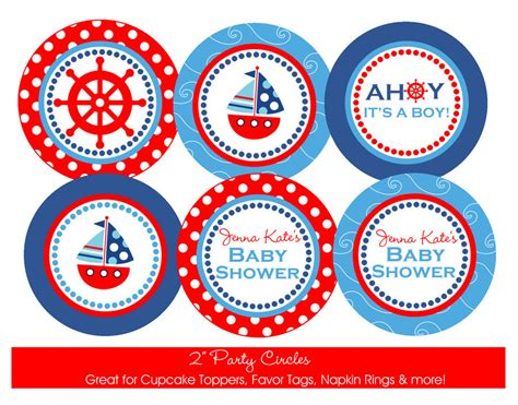 Nautical Baby Shower Decorations For Home: Nautical Baby Shower Printable Party Circles DIY By