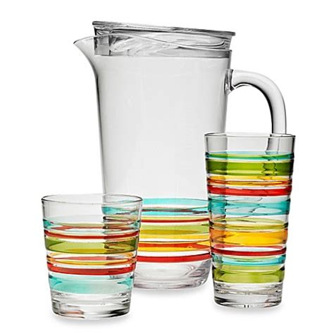 Acrylic Barware by Riviera 3d Multi Stripe Acrylic Drinkware Collection Bed