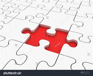 3d Render Jigsaw Puzzle With Blank White Pieces And ...