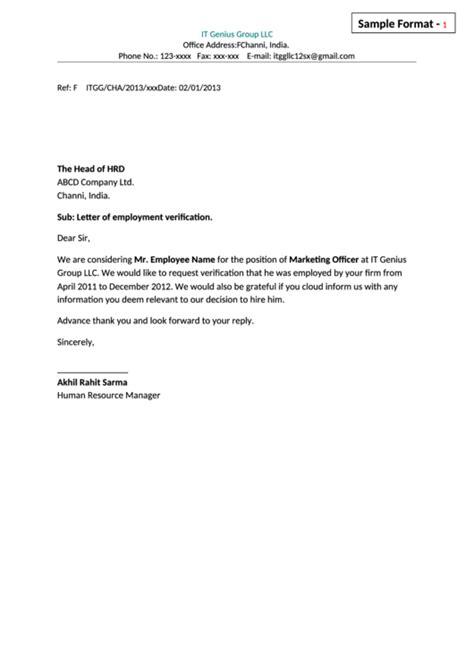 employment verification letter template sle employment verification letter template printable 11149