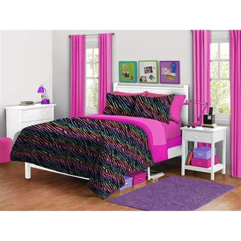 Rainbow Zebra Print Bedroom Decor by Your Zone Zebra Plush Reversible Comforter Set Shopping
