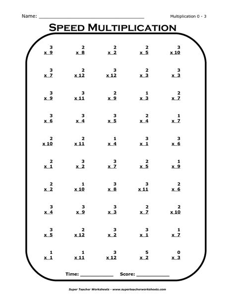 15 best images of printable multiplication worksheets x 3