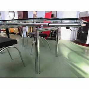 Table salle a manger verre avec rallonges magasin du for Meuble salle À manger avec table a manger verre