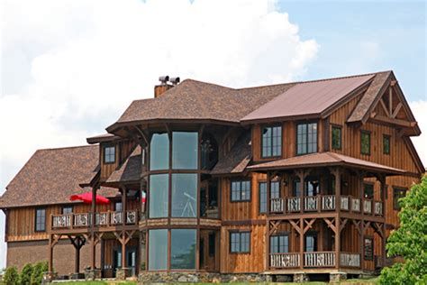 vista lodge  story timber frame house plans log home designs