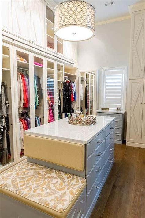 gray closet island  built  bench contemporary closet