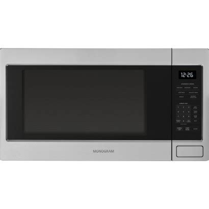 zebshss monogram  cu ft countertop microwave oven stainless steel