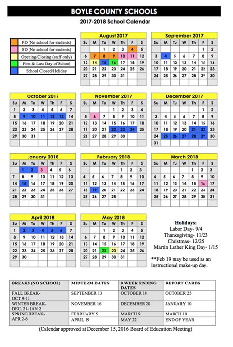 calendar approved boyle county schools
