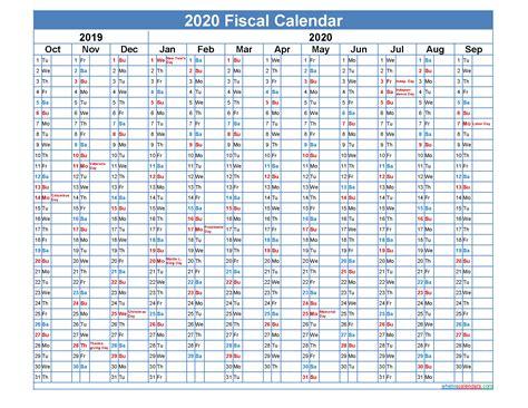 federal fiscal year  calendar template