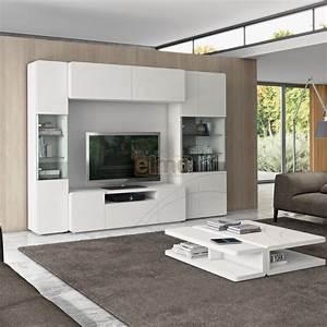 composition murale meuble television moderne vitrines clarisse With deco cuisine pour meuble vitrine
