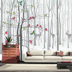 Papier Peint Arbre Noir Et Blanc : 3d photo murale papier peint peintures murales pour salon moderne oiseau arbre noir blanc grande ~ Nature-et-papiers.com Idées de Décoration