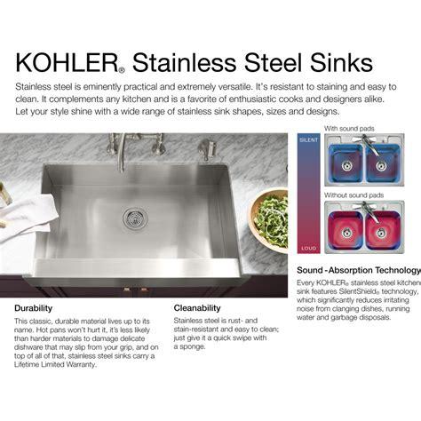 kohler k 3356 sink kohler k 3356 na undertone stainless steel kitchen sinks