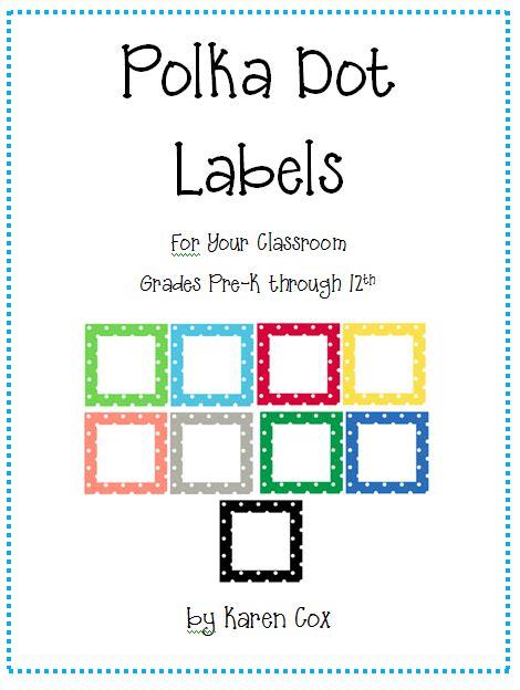 polka dot classroom labels prekinders