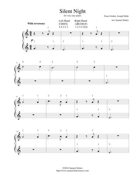 Originally, i had thought to make a duet out of the silent night music similar to my simple arrangement for the greensleeves duet, with repeating broken chords in. Silent Night - For Very Easy Piano By Franz Gruber, Joseph Mohr - Digital Sheet Music For ...