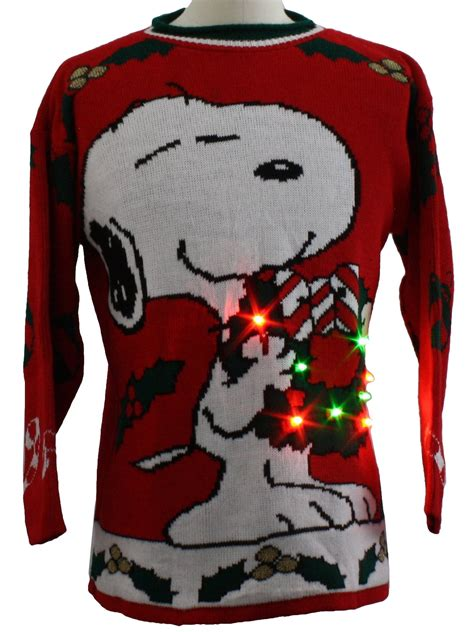 snoopy sweater vintage 1980 39 s snoopy lightup sweater 80s