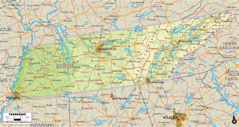 physical map  tennessee ezilon maps