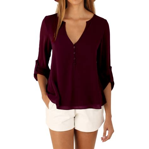 v neck blouses 2016 fashion sleeve blouses v neck solid color