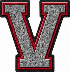 Presentation Alphabets: Silver & Red Varsity Letter V