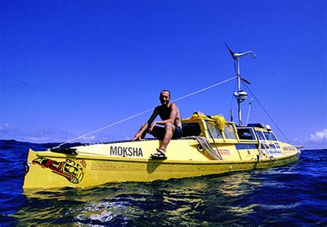 Bow Of His Boat by Man Returns From Round The World Pedal Boat Trip After 13
