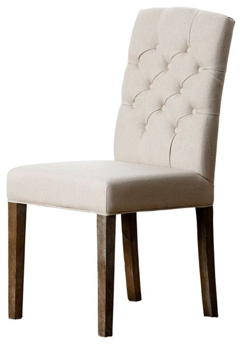 princeton linen tufted dining chair light beige