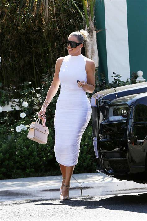 khloe kardashian seen wearing a skintight white dress ...
