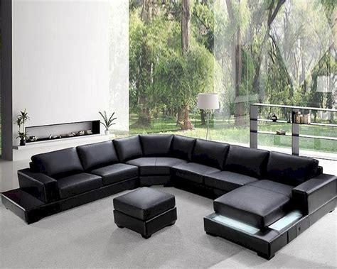 New Sofa Set by Modern Soft Black Leather Sectional Sofa Set 44l0693