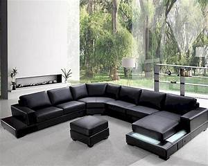 modern soft black leather sectional sofa set 44l0693 With black sectional sofa
