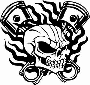 Skull Skeleton Piston Racing Flame Car Truck Window Laptop