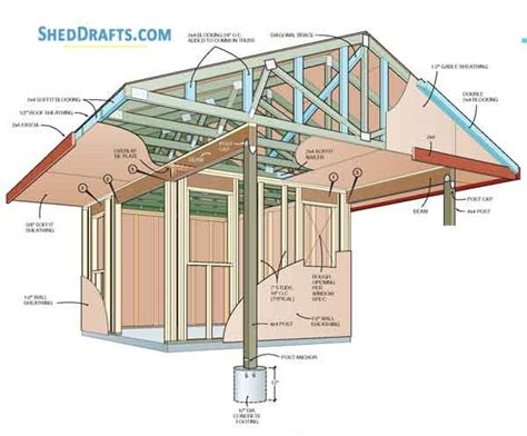 Porch Blueprints by 10 215 12 Backyard Storage Shed With Porch Plans Blueprints