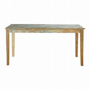 Table de salle a manger en bois recycle effet vieilli l for Table salle a manger en bois
