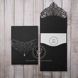 crystal drop on elegant black laser cut top fold pocket With lace wedding invitations melbourne
