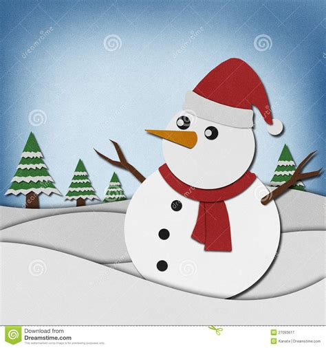 snowman arts and crafts snowman recycled paper craft on paper background stock 5448
