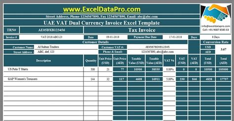 uae vat dual currency invoice excel template