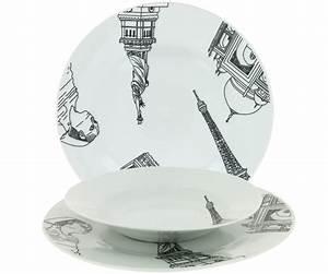 Service De Table Complet Pas Cher : service de table 18 assiettes porcelaine new york paris monument retro ~ Melissatoandfro.com Idées de Décoration