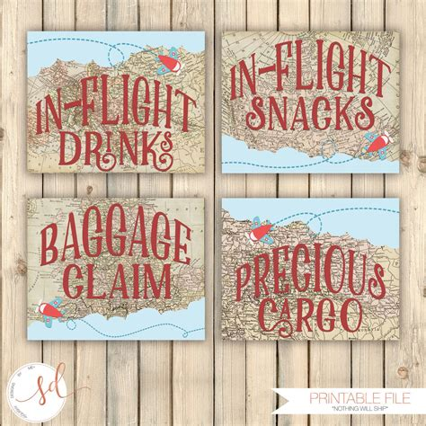 Vintage Travel Birthday Party Signs In Flight Drinks