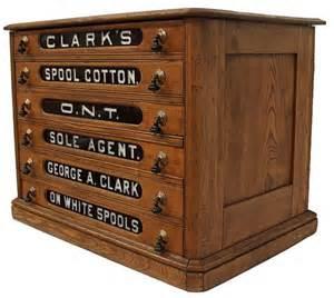 antique oak clarks six drawer spool cabinet lot 71