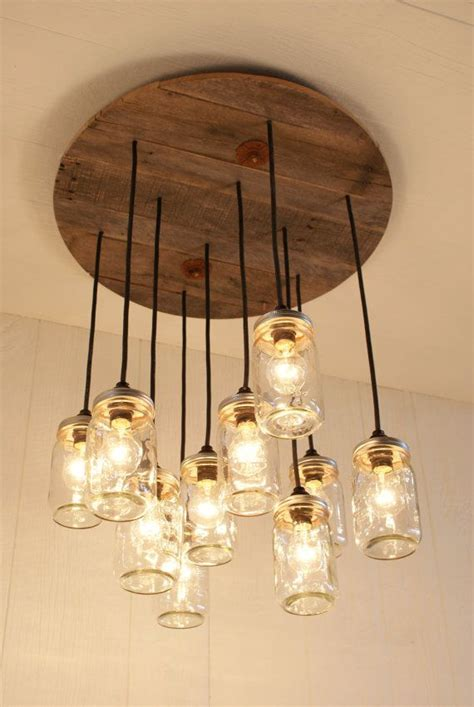 Farmhouse Mason Jar Lights With Reclaimed Wood